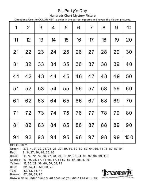 image regarding St Patrick Day Puzzles Printable Free known as Totally free Printable St. Pattys Working day Countless numbers Chart - NEATLINGS