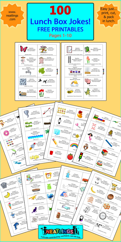100 NEATLINGS Free Printables. 100 Lunch Box Note Jokes. Pages 1- 10
