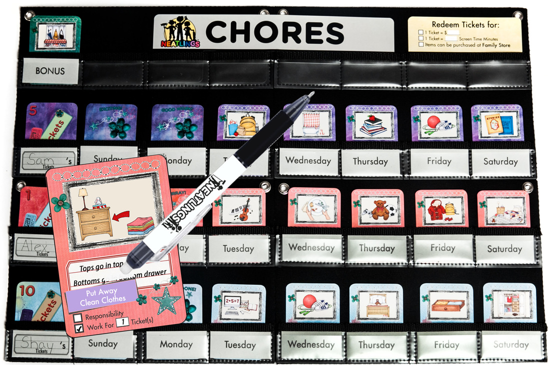 NEATLINGS Chore Chart System in Purple, Pink and Light Blue