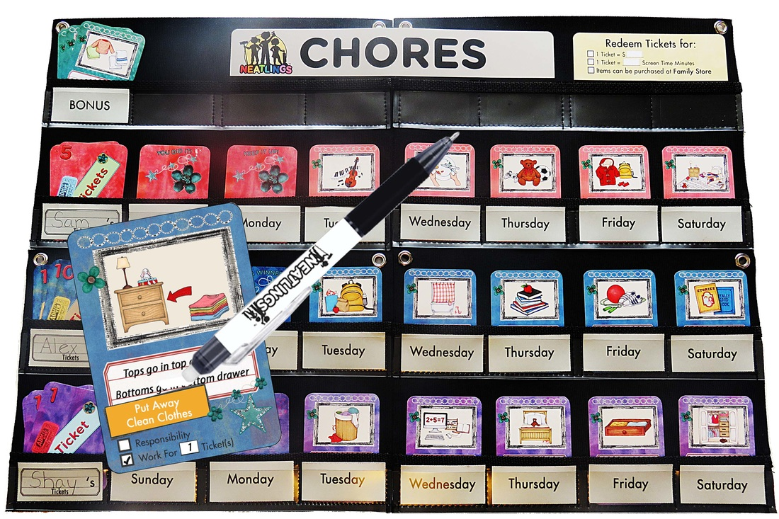 NEATLINGS Chore Chart System in Purple, Pink and Dark Blue