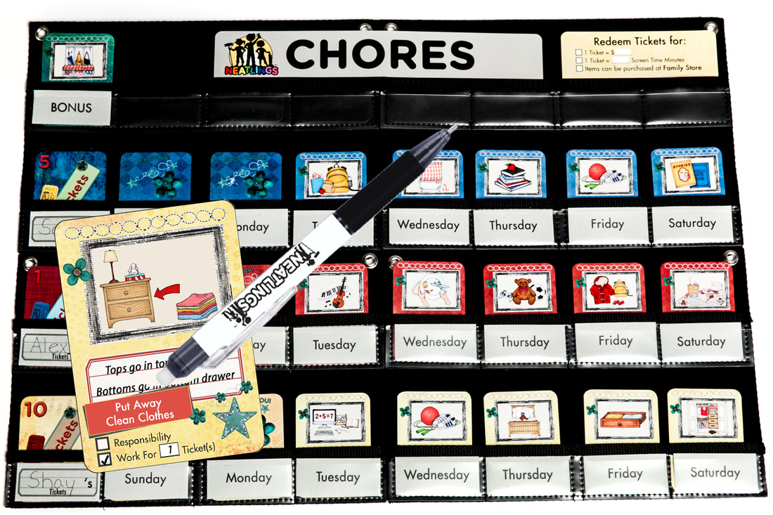 NEATLINGS Chore Chart System in Dark Blue, Red and Yellow