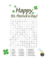 St. Patrick's Day Word Search Answer Key