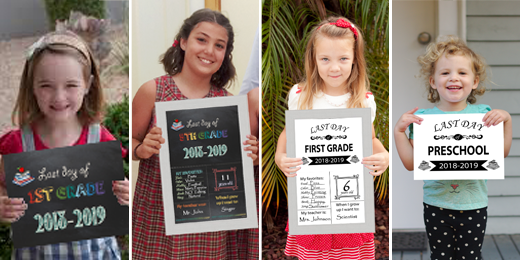 photo about Last Day of School Signs Printable called Free of charge Printable Initially Final Working day of University Signs or symptoms 2018-2019