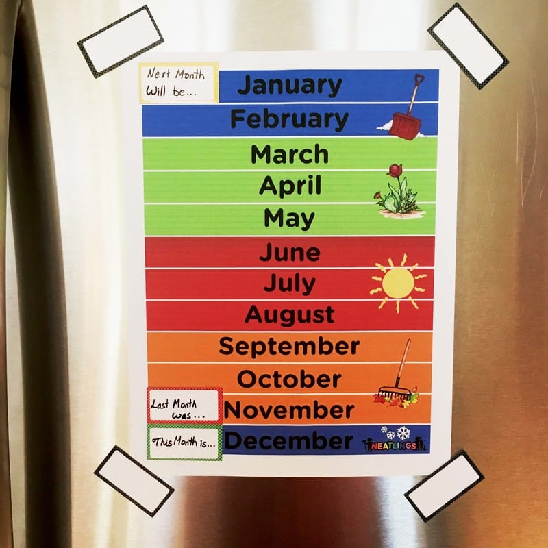 Monthly Calendar for Toddlers and Preschoolers