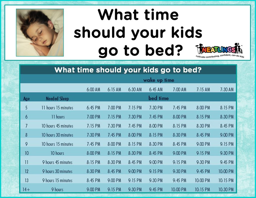 NEATLINGS Sleep Schedule - What time should your kids go to bed? Free printable schedule!